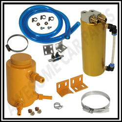 350ml Gold Oil Catch Can Cylinder Tank + 3 Gold Round Power Steering Tank