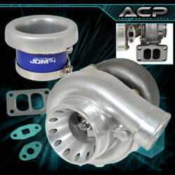 T70 Turbo Charger Dual Port Upgrade T3 Manifold Exhaust Velocity Stack Silver