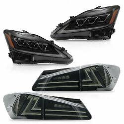 AMBER LED Projector Headlights + Taillights for 06-13 IS250350 Sedan 08-14 IS F