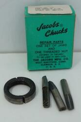 New Original Jacobs U7 Jaws And Threaded Nut Repair Kit For 7-7b Drill Chuck. Usa