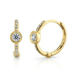 14k Yellow Gold Diamond Huggie Earrinngs Beaded Round Cut 0.23 Tcw Natural Hoops