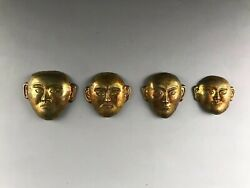 Chinese Silver Gilding Human Face Han Dynasty 206 B. C.-220 A. D.