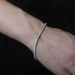 Excellent Sterling Silver 925 Charm Tennis Bracelet For Women's Round Diamond