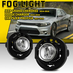 For 15-19 Dodge Charger 14-16 Jeep Grand Cherokee Led Fog Lights Clear Lamp Pair