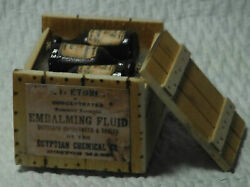 Dollhouse Miniature Handcrafted 1/12th Scale Embalming Fluid Crate And Bottles