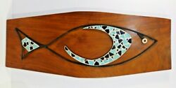 Mid Century Modernist Abstract Tile Mosaic Wall Art Fish On Solid Walnut