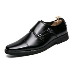 Mens Double Monk Strap Dress Shoes Oxford Style In Black Us 13/eur 47 New