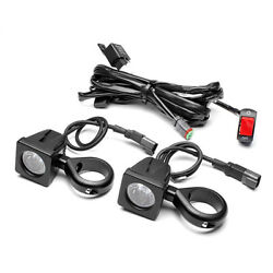 Motorbike Spotlight Kit With Wiring Harness Switch 56-57mm Fork Clamps 10w Led