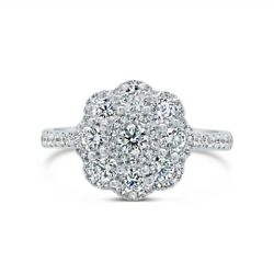 14k White Gold Diamond Cocktail Ring Womens Round Cut Right Hand Scallop Size 7