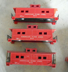 Lot Of 3 Vintage 1950s S Scale American Flyer Caboose Car Bodies 806 938