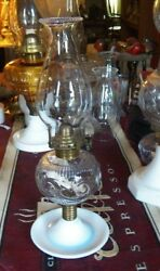 Antique Oil Lamp, Atterbury Scroll, With Saucer Base, Solid Brass Burner Panda.