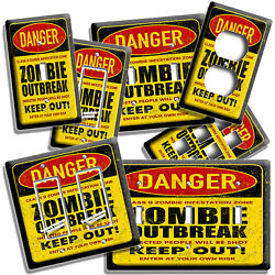 Danger Zombie Outbreak Warning Light Switch Toggle Outlet Wall Plates Room Decor