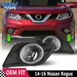 For 2014-2016 Nissan Rogue Pair Oe Factory Fit Fog Light Bumper Kit Clear Lens