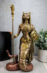 Ebros 11quot;H Egyptian Bastet Cat With Snake Holding Spear amp; Shield Statue 11quot;H
