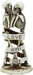Love Never Dies Skeleton Couple Kissing Wrapped By Ribbon Statue Cake Topper