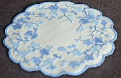 9 Vintage Organza Embroidered Cocktail Rounds Doilies Vv208c