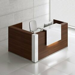 Tera 89 X 65 L Shape Reception Desk With Lighting Panel And Corners