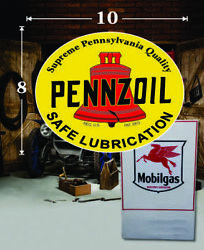 10 X 8 Pennzoil Vintage Shield Gas Vinyl Decal Lubester Oil Pump Can Lubster