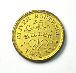 1863 Oliver Boutwell Miller Troy New York Trade Token Redeemed At Office F890-b