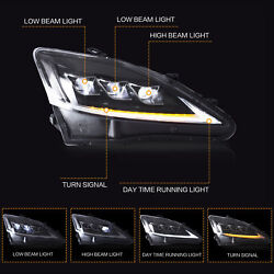 FULL LED Projector CLEAR Headlights w Sequential for 2006-2013 IS250350 Sedan