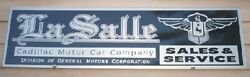 C.1920and039s-30and039s Lasalle/cadillac Auto 1and039x46 Metal Dealer/service Sign/garage Art