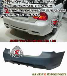 Mp-style Rear Bumper Single Exhaust Fits 06-11 Bmw E90 3-series 4dr 325i 328i