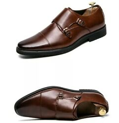 Mens Double Monk Strap Dress Shoes Oxford Style In Ombre Brown Us 12/eur 46 New