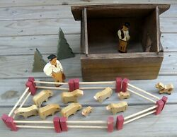 Vintage Hand Crafted Cabin Box Of Wooden Toys - Sheepherders 2 Animal Jigsaws