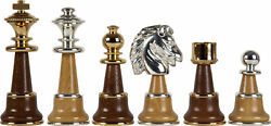 The Champion Chessmen Set Italy Solid Brass Wood 24k Gold Silver King Height 5