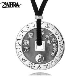 Sterling Silver Round Big Dipper Tai Chi Pendant Men Vintage Necklace