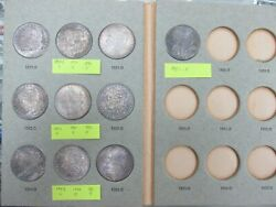 Lot Of 10 Rainbow Toned Uncirculated Morgan Silver Dollars In Vintage Album Q1a9