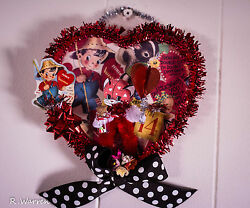 Kitschy Kitty Vintage Inspired Valentine's Day Shadow Box Diorama Heart Candy