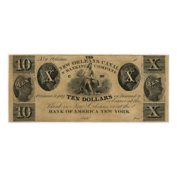 Jcr_m Usa - 1850´s - 10 Dollars New Orleans Canal And Banking Company Aunc