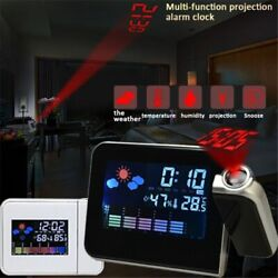 Projection Snooze Digital Alarm Clock Thermometer Date LCD Display Home Desktop