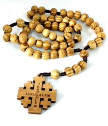 Hand Made Olive Wood Rosary Beads And Free Card Booklet Info In Description