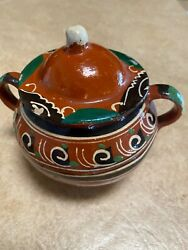 """Vintage Mexican Red Clay Sugar Bowl Apx 5""""handle To Handle, 41/2""""tall. Good Cond"""