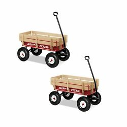 Radio Flyer Full Size All Terrain Classic Steel And Wood Pull Along Wagon 2 Pack