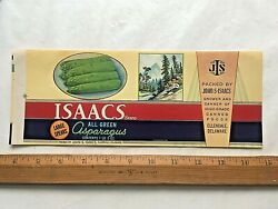 1930's Isaacs Brand Asparagus Can Label 4 1/4 X 11 Inches. Ellendale, Delaware.