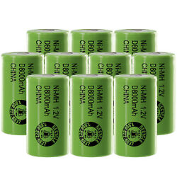10pc 1.2v 8000mah D Size High Capacity Nimh Rechargeable Flat Top Batteries