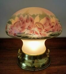 Pittsburgh Obverse Painted Mushroom Lamp Enameled W/ Gilt And Textured C.1913