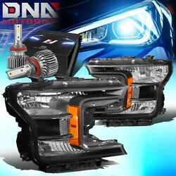 For 2018-2020 Ford F150 Pickup Truck Oe Replace Headlight W/led Slim Style Black