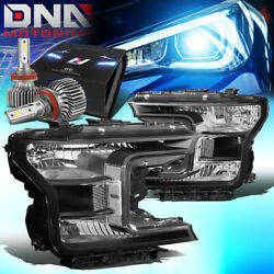 For 2018-2020 Ford F150 Pickup Truck Oe Style Headlight W/led Slim Style Black