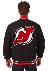 Nhl New Jersey Devils Jh Design Reversible Wool Poly Twill Jacket Bnwt Blk Red