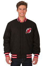 Nhl New Jersey Devils Jh Design Reversible Wool Twill Jacket 103 Bsf7 Blk-red