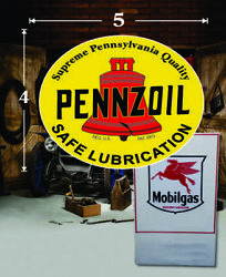 5 X 4 Pennzoil Vintage Shield Gas Vinyl Decal Lubester Oil Pump Can Lubster