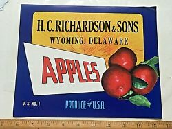1950's Richardson And Sons Apples Crate Label. 8 X 10 Inches. Wyoming, Delaware