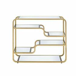 Metal Framed Mirror Sofa Table With Tiered Shelves, Gold And Clear