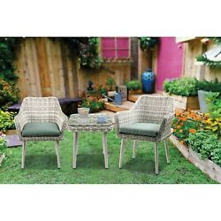 Resin Wicker And Metal Patio Bistro Set With Two Chairs And Table, Beige And ...