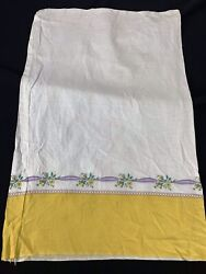 Vintage Yellow Flowers And Lavender Ribbons Border Print Feedsack Still A Sack