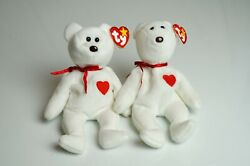 Ty Beanie Baby Valentino Bear White Authentic Retired Rare Errors New And Old Bear